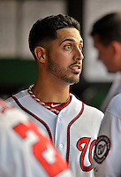 15 June 2012: Washington Nationals pitcher Gio Gonzalez converses in the dugout during a game against the New York Yankees at Nationals Park in Washington, DC. The Yankees defeated the Nationals 7-2 in the first game of their 3-game series. Mandatory Credit: Ed Wolfstein Photo