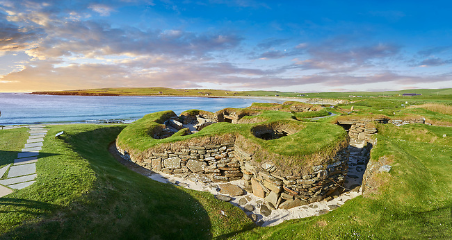 The neolithic village ruins of Skara Brae, circa 2,500,  a UNESCO World Heritage Site. Orkney, Scotland
