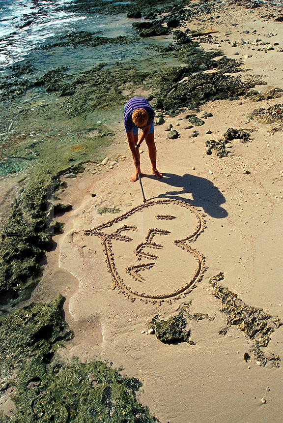 Luv U Heart in the sand, Cayman Brac, Cayman Islands