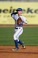 Bluefield Blue Jays second baseman Rafael Lantigua (25) throws to first base during the first game of a doubleheader against the Bristol Pirates on July 25, 2018 at Bowen Field in Bluefield, Virginia.  Bluefield defeated Bristol 6-3.  (Mike Janes/Four Seam Images)