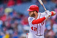 15 April 2018: Washington Nationals outfielder Bryce Harper at bat in the first inning against the Colorado Rockies at Nationals Park in Washington, DC. All MLB players wore Number 42 to commemorate the life of Jackie Robinson and to celebrate Black Heritage Day in pro baseball. The Rockies edged out the Nationals 6-5 to take the final game of their 4-game series. Mandatory Credit: Ed Wolfstein Photo *** RAW (NEF) Image File Available ***