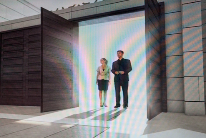 December 2015. Shot from a promotional 3D video screened at the showroom. In the video, these doors open to the future mall located at the heart of Rawabi.