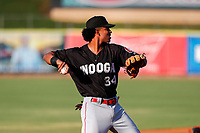 Chattanooga Lookouts shortstop Jose Barrero (34) on defense against the Tennessee Smokies at Smokies Stadium on June 18, 2021, in Kodak, Tennessee. (Danny Parker/Four Seam Images)