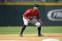 Indianapolis Indians third baseman Ke'Bryan Hayes (24) on defense against the Charlotte Knights at BB&T BallPark on April 27, 2019 in Charlotte, North Carolina. The Indians defeated the Knights 8-4. (Brian Westerholt/Four Seam Images)