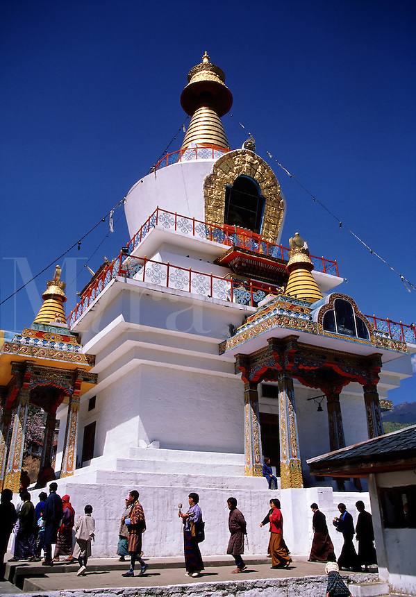 Memorial Chorten with worshippers Thimpu Bhutan.