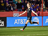 Sandy, UT - October 19, 2016: The USWNT take a 4-0 lead over Switzerland with Samantha Mewis adding a goal in second half action during an international friendly game at Rio Tinto Stadium.