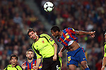 Football Season 2009-2010. Barcelona's player Seydou Keita (R) is challanged against Zaragoza's Pablo Amo (L) during their Spanish first division soccer match at Camp Nou stadium in Barcelona October 25, 2009