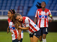 BARRANQUIILLA - COLOMBIA, 03-03-2018: Cinthia Zarabia del Atlético Junior Femenina celebra con Nicole Regnier después de anotar un gol a Unión Magdalena Femenina durante partido por la fecha 4 de la Liga Femenina Águila 2018 jugado en el estadio Metropolitano Roberto Meléndez de la ciudad de Barranquilla. / Cinthia Zarabia player of Atletico Junior Femenina celebrates with Nicole Regnier after scoring a goal to Union Magadalena Women during match for the date 4 of the Aguila Women League 2018 played at Metropolitano Roberto Melendez stadium in Barranquilla city.  Photo: VizzorImage/ Alfonso Cervantes / Cont