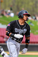 Lansing Lugnuts catcher Javier Hernandez (29) rounds first base during a Midwest League game against the Wisconsin Timber Rattlers on May 8, 2018 at Fox Cities Stadium in Appleton, Wisconsin. Lansing defeated Wisconsin 11-4. (Brad Krause/Four Seam Images)