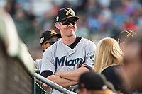 Salt River Rafters outfielder Brian Miller (10), of the Miami Marlins organization, in the dugout during the Arizona Fall League Championship game against the Peoria Javelinas at Scottsdale Stadium on November 17, 2018 in Scottsdale, Arizona. Peoria defeated Salt River 3-2 in extra innings. (Zachary Lucy/Four Seam Images)