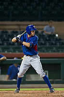 AZL Rangers second baseman Myles McKisic (9) at bat against the AZL Giants on September 4, 2017 at Scottsdale Stadium in Scottsdale, Arizona. AZL Giants defeated the AZL Rangers 6-5 to advance to the Arizona League Championship Series. (Zachary Lucy/Four Seam Images)