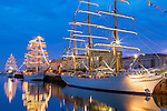 Tall ships before sunrise, Boston, Massachusetts, USA