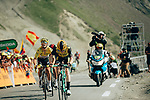 Yellow Jersey Julian Alaphilippe (FRA) Deceuninck-Quick Step finishes the stage in 2nd place wth Steven Kruijswijk (NED) Jumbo-Visma 3rd atop the Col du Tourmalet during Stage 14 of the 2019 Tour de France running 117.5km from Tarbes to Tourmalet Bareges, France. 20th July 2019.<br /> Picture: ASO/Thomas Maheux | Cyclefile<br /> All photos usage must carry mandatory copyright credit (© Cyclefile | ASO/Thomas Maheux)