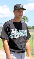 August 22, 2009:  GCL Marlins pitcher Chad James before a game at Roger Dean Stadium Complex in Jupiter, FL.  The GCL Marlins are the Short-Season Rookie League affiliate of the Florida Marlins.  Photo By Stacy Grant/Four Seam Images