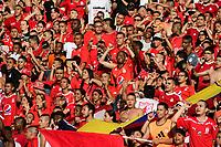 CALI - COLOMBIA, 12- 05-2019: Hinchas de América de Cali de Cali, animan a su equipo, durante partido entre América de Cali y Millonarios, de la fecha 1 de los cuadrangulares semifinales por la Liga Águila I 2019 jugado en el estadio Pascual Guerrero de la ciudad de Cali. / Fans of America de Cali, cheer for their team, during a match between America de Cali and Millonarios, of the 1st date of the semifinals quarters for the Aguila Leguaje I 2019 at the Pascual Guerrero stadium in Cali city. Photo: VizzorImage / Nelson Ríos / Cont.
