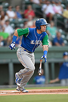 Designated hitter Sebastian Rivero (3) of the Lexington Legends runs out a batted ball during a game against the Greenville Drive on Saturday, September 1, 2018, at Fluor Field at the West End in Greenville, South Carolina. Greenville won, 9-6. (Tom Priddy/Four Seam Images)