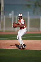 Max Dias (10) of Porter High School in Porter, Texas during the Baseball Factory All-America Pre-Season Tournament, powered by Under Armour, on January 13, 2018 at Sloan Park Complex in Mesa, Arizona.  (Mike Janes/Four Seam Images)