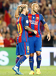 FC Barcelona's Leo Messi (l) and Javier Mascherano celebrate goal during Supercup of Spain 2nd match.August 17,2016. (ALTERPHOTOS/Acero)
