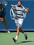 August 18,2018:   Marin Cilic (CRO) loses to Novak Djokovic (SRB) 6-4, 3-6, 6-3, at the Western & Southern Open being played at Lindner Family Tennis Center in Mason, Ohio.  ©Leslie Billman/Tennisclix/CSM