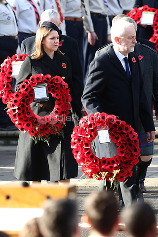 ***NO UK*** REF: MTX 193994 - Leader of the Liberal Democrats Jo Swinson and Leader of the Labour Party Jeremy Corbyn attend the annual Remembrance Sunday memorial at The Cenotaph in London, England.  NOVEMBER 10th 2019. Credit: Trevor Adams/Matrix/MediaPunch