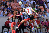 Houston, TX - Sunday Oct. 09, 2016: Francisca Ordega, Crystal Dunn, Abby Erceg during the National Women's Soccer League (NWSL) Championship match between the Washington Spirit and the Western New York Flash at BBVA Compass Stadium. The Western New York Flash win 3-2 on penalty kicks after playing to a 2-2 tie.