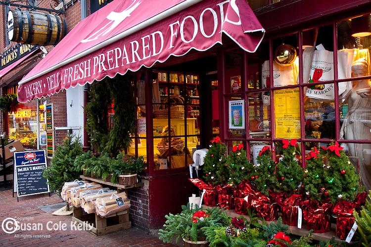 Christmas at DeLuca's Market on Beacon Hill, Boston, MA