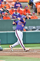Clemson Tigers designated hitter Reed Rohlman (26) swings at a pitch during a game against the Notre Dame Fighting Irish at Doug Kingsmore Stadium on March 11, 2017 in Clemson, South Carolina. The Tigers defeated the Fighting Irish 6-5. (Tony Farlow/Four Seam Images)