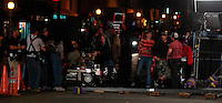 A film crew works on Newport Avenue in Ocean Beach on Friday night April 11, 2008.  Parts of OB have been taken over by the crew who are filming a pilot of a new CBS show called Mythological X over the past few days.