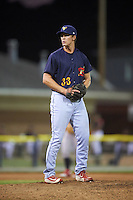 State College Spikes relief pitcher Bob Wheatley (33) gets ready to deliver a pitch during a game against the Batavia Muckdogs on June 24, 2016 at Dwyer Stadium in Batavia, New York.  State College defeated Batavia 10-3.  (Mike Janes/Four Seam Images)