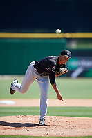 Jupiter Hammerheads starting pitcher Ethan Clark (32) delivers a pitch during a game against the Clearwater Threshers on April 11, 2018 at Spectrum Field in Clearwater, Florida.  Jupiter defeated Clearwater 6-4.  (Mike Janes/Four Seam Images)