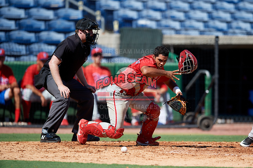 Philadelphia Phillies catcher Freddy Francisco (6) tracks down a loose ball in front of home plate umpire Mitch Leikam during a Florida Instructional League game against the New York Yankees on October 12, 2018 at Spectrum Field in Clearwater, Florida.  (Mike Janes/Four Seam Images)