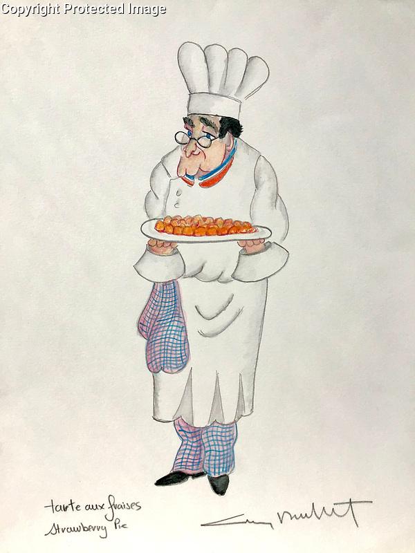 """""""Tarte aux Fraises""""<br /> Strawberry Pie<br /> 12x16 ORIGINAL Watercolor on Paper<br /> $1,750"""