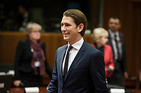 Austrian Foreign Minister Sebastian Kurz prior to the European Union Foreign Ministers Council at EU headquarters  in Brussels, Belgium on 29.01.2015 Federica Mogherini , EU High representative for foreign policy called extraordinary meeting on the situation in Ukraine after the attack on Marioupol.  by Wiktor Dabkowski