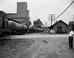 Oakdale PA - View of the PA Railroad Oakdale rain station.  Brady Stewart Sr observing the on-location photography shoot.