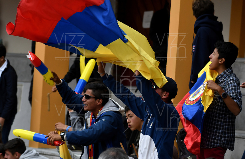 BOGOTA - COLOMBIA – 16 – 09 -2019: Fanáticos de Colombia, durante partido de la Copa Davis entre los equipos de Colombia y Croacia, partidos por el ascenso al Grupo Mundial de Copa Davis por BNP Paribas, en la Plaza de Toros La Santamaria en la ciudad de Bogota. / Fans of Colombia, during a Davis Cup match between the teams of Colombia and Croatia, match promoted to the World Group Davis Cup by BNP Paribas, at the La Santamaria Ring Bull in Bogota city. / Photo: VizzorImage / Luis Ramirez / Staff.