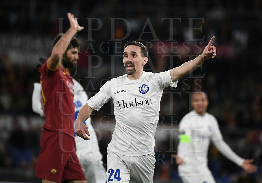 Football Soccer: UEFA Europa League round of 32 first leg AS Roma vs KAA Gent, Olympic stadium, Rome, 20 February, 2020.<br /> Gent's Sven Kums reacts during the Europa League football match between Roma and Gent at the Olympic stadium in Rome on 20 February, 2020.<br /> UPDATE IMAGES PRESS/Isabella Bonotto