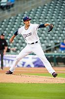 Northwest Arkansas Naturals pitcher Conner Greene (21) delivers a pitch on May 1, 2019, at Arvest Ballpark in Springdale, Arkansas. (Jason Ivester/Four Seam Images)