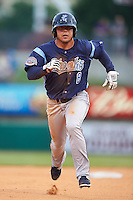 Corpus Christi Hooks outfielder Leo Heras (8) runs the bases during a game against the Arkansas Travelers on May 29, 2015 at Dickey-Stephens Park in Little Rock, Arkansas.  Corpus Christi defeated Arkansas 4-0 in a rain shortened game.  (Mike Janes/Four Seam Images)