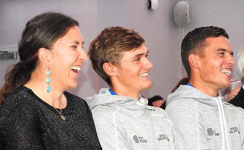 Annalise Murphy, Rob Dickson and Sean Waddilove at a fund-raiser for the Dickson-Waddilove 49er Campaign