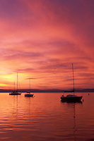 AJ1009, Vermont, Lake Champlain, Sailboats float on the quiet calm waters of [sunrise, sunset] at Appletree Marina on Lake Champlain in South Hero.