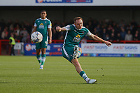 Rob Milsom of Sutton United takes a free-kick during Crawley Town vs Sutton United, Sky Bet EFL League 2 Football at The People's Pension Stadium on 16th October 2021