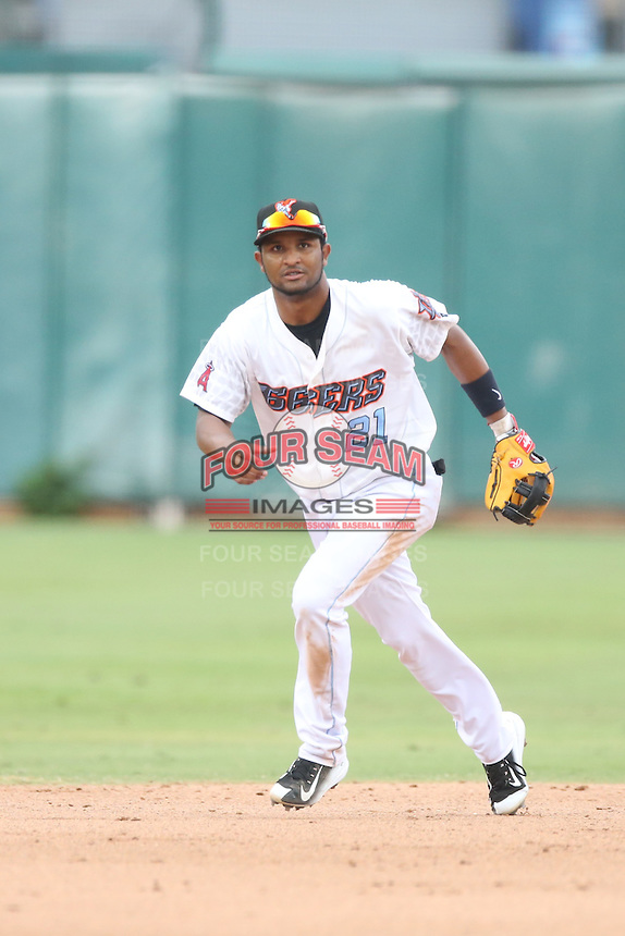 Roberto Baldoquin (21) of the Inland Empire 66ers in the field during a game against the Stockton Ports at San Manuel Stadium on June 28, 2015 in San Bernardino, California. Stockton defeated Inland Empire, 4-1. (Larry Goren/Four Seam Images)