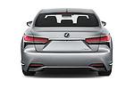 Straight rear view of a 2018 Lexus LS 500h 4 Door Sedan stock images