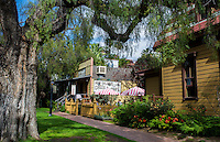 Old San Diego California shady, cajun, cool, trees, for tourists area colorful restaurants and shops for walkers San Diego CA