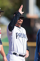 Peoria Javelinas hitting coach Doug Banks (8), of the San Diego Padres organization, during player introductions before the Arizona Fall League Championship game against the Salt River Rafters at Scottsdale Stadium on November 17, 2018 in Scottsdale, Arizona. Peoria defeated Salt River 3-2 in 10 innings. (Zachary Lucy/Four Seam Images)