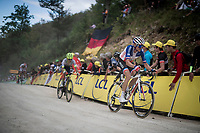 Fresh French champion Romain Barguil (FRA/Arkea-Samsic) up the gravel section in the final stretch to the finish line up La Planche des Belles Filles<br /> <br /> Stage 6: Mulhouse to La Planche des Belles Filles (157km)<br /> 106th Tour de France 2019 (2.UWT)<br /> <br /> ©kramon