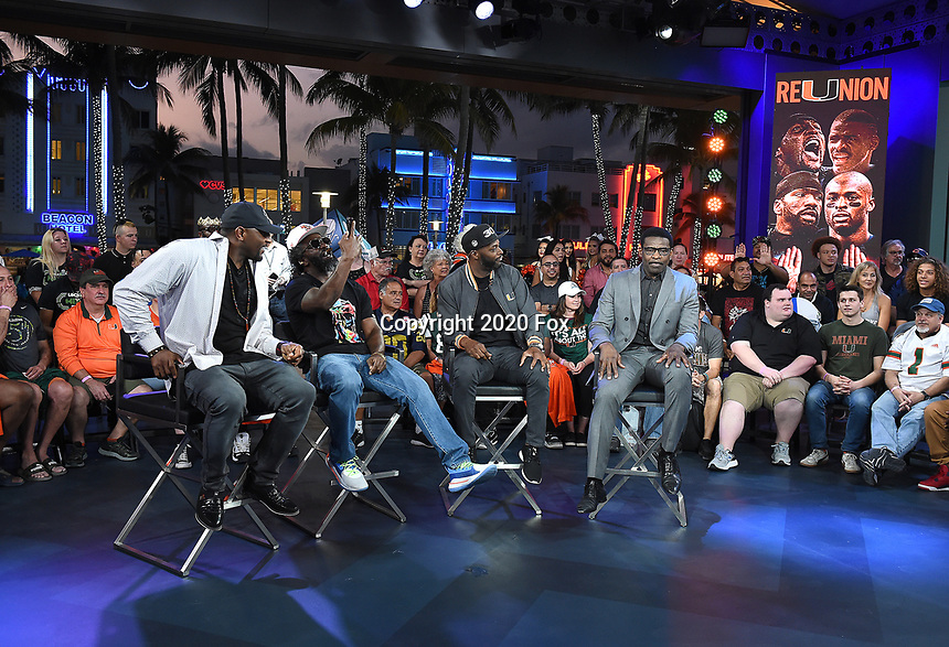 """MIAMI BEACH, FL - JANUARY 28:  (L-R) Ray Lewis, Ed Reed, Reggie Wayne, and Michael Irvin discuss Fox Sports """"The ReUnion"""" at the Fox Sports South Beach studio during Super Bowl LIV week on January 29, 2020 in Miami Beach, Florida. (Photo by Frank Micelotta/Fox Sports/PictureGroup)"""