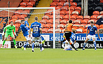 Dundee United v St Johnstone…..01.08.20   Tannadice  SPFL<br />Liam Craig blocks Liam Smith's shot for a United penalty<br />Picture by Graeme Hart.<br />Copyright Perthshire Picture Agency<br />Tel: 01738 623350  Mobile: 07990 594431