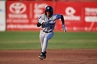 Hudson Valley Renegades Greg Jones (2) runs the bases after hitting a triple during a NY-Penn League game against the Mahoning Valley Scrappers on July 15, 2019 at Eastwood Field in Niles, Ohio.  Mahoning Valley defeated Hudson Valley 6-5.  (Mike Janes/Four Seam Images)