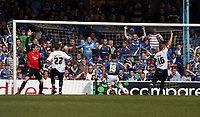 ATTENTION SPORTS PICTURE DESK<br /> Pictured: Michael Chopra of Cardiff City (18) equalizing to the annoyance of Dorus de Vries goalkeeper (L) and Garry Monk (R) captain for Swansea who calls for an offside<br /> Re: Coca Cola Championship, Cardiff City FC v Swansea City FC at Ninian Park, Cardiff, south Wales. Sunday 05 April 2009.<br /> Picture by D Legakis Photography / Athena Picture Agency, Swansea 07815441513